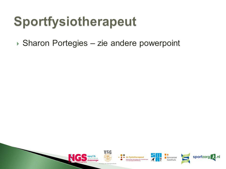 Sportfysiotherapeut Sharon Portegies – zie andere powerpoint