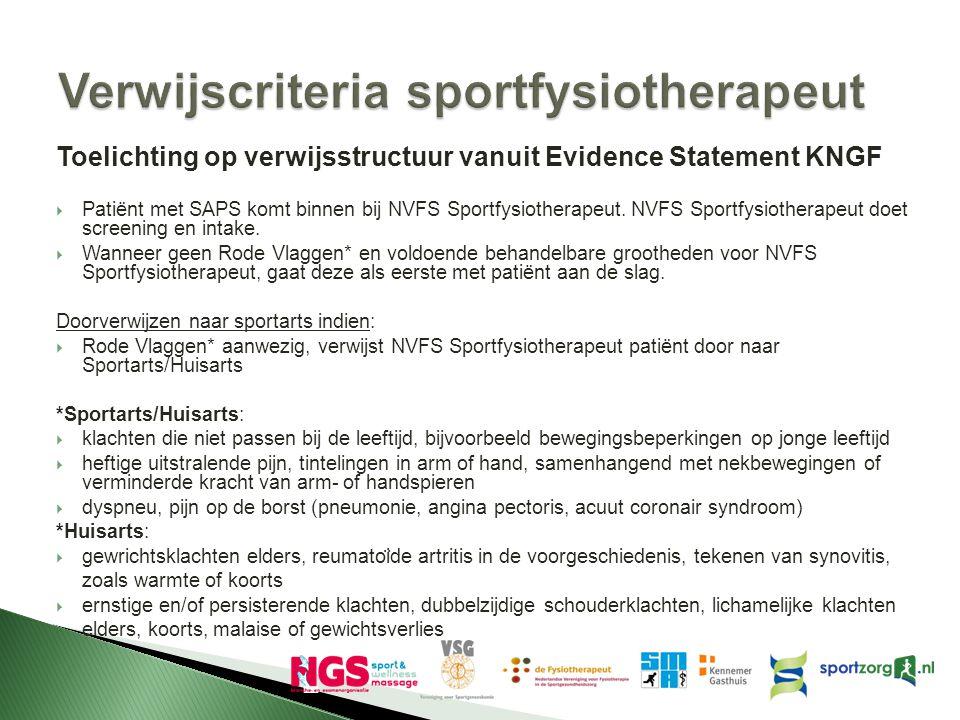 Verwijscriteria sportfysiotherapeut