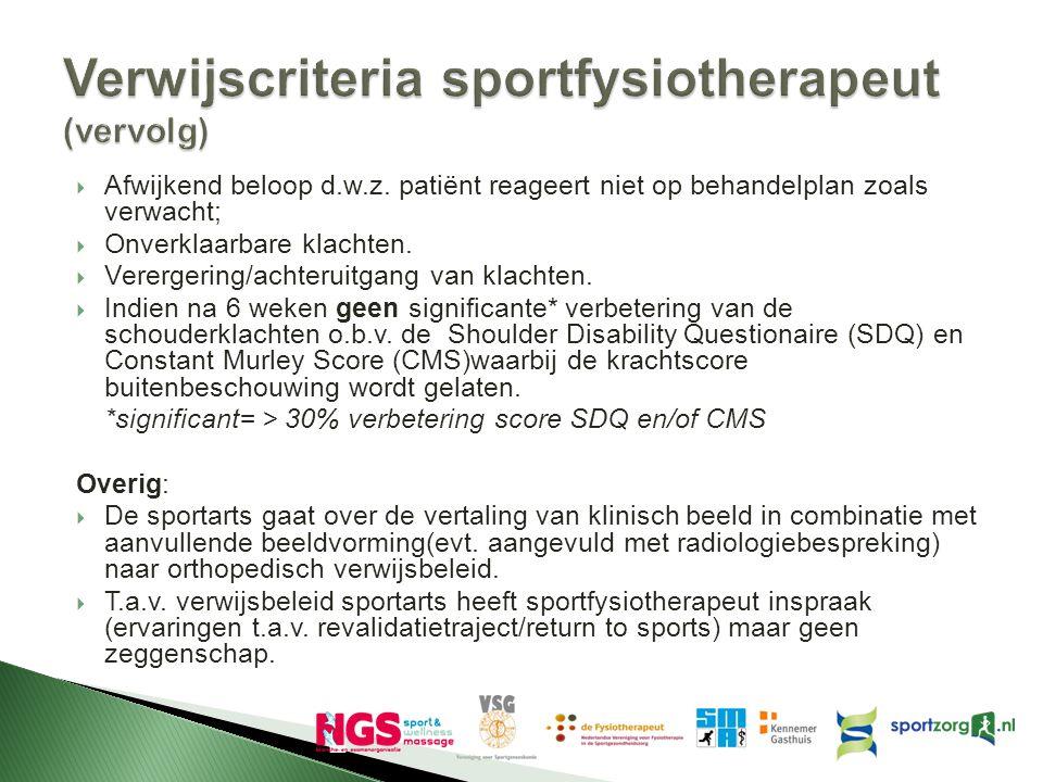 Verwijscriteria sportfysiotherapeut (vervolg)