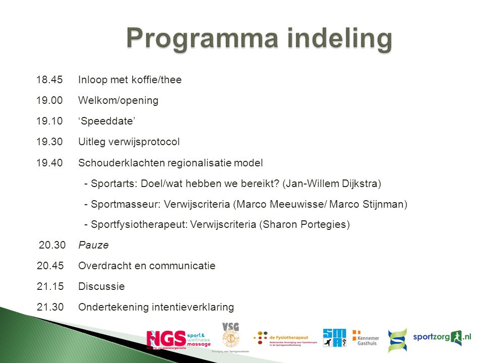Programma indeling 18.45 Inloop met koffie/thee 19.00 Welkom/opening