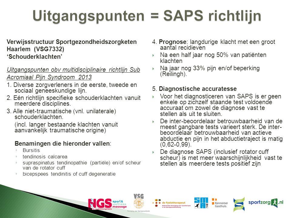 Uitgangspunten = SAPS richtlijn