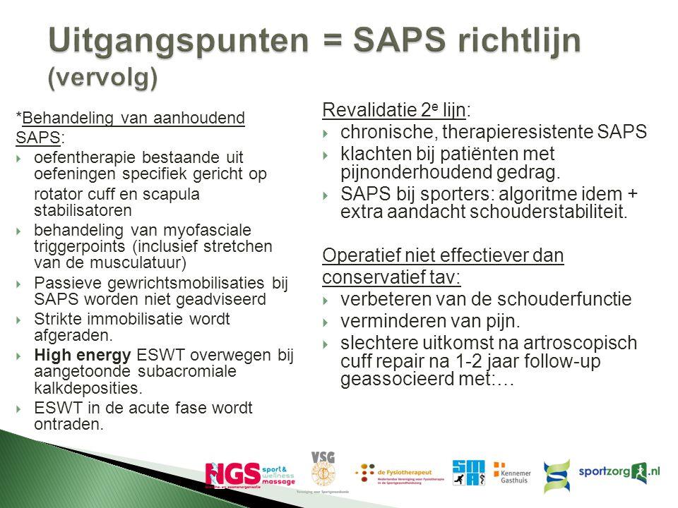 Uitgangspunten = SAPS richtlijn (vervolg)