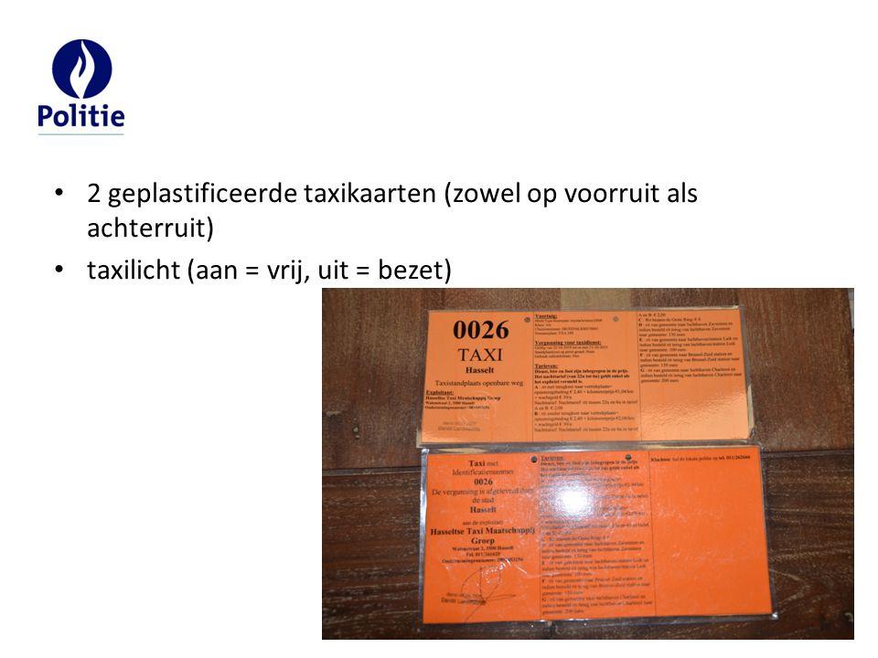 2 geplastificeerde taxikaarten (zowel op voorruit als achterruit)