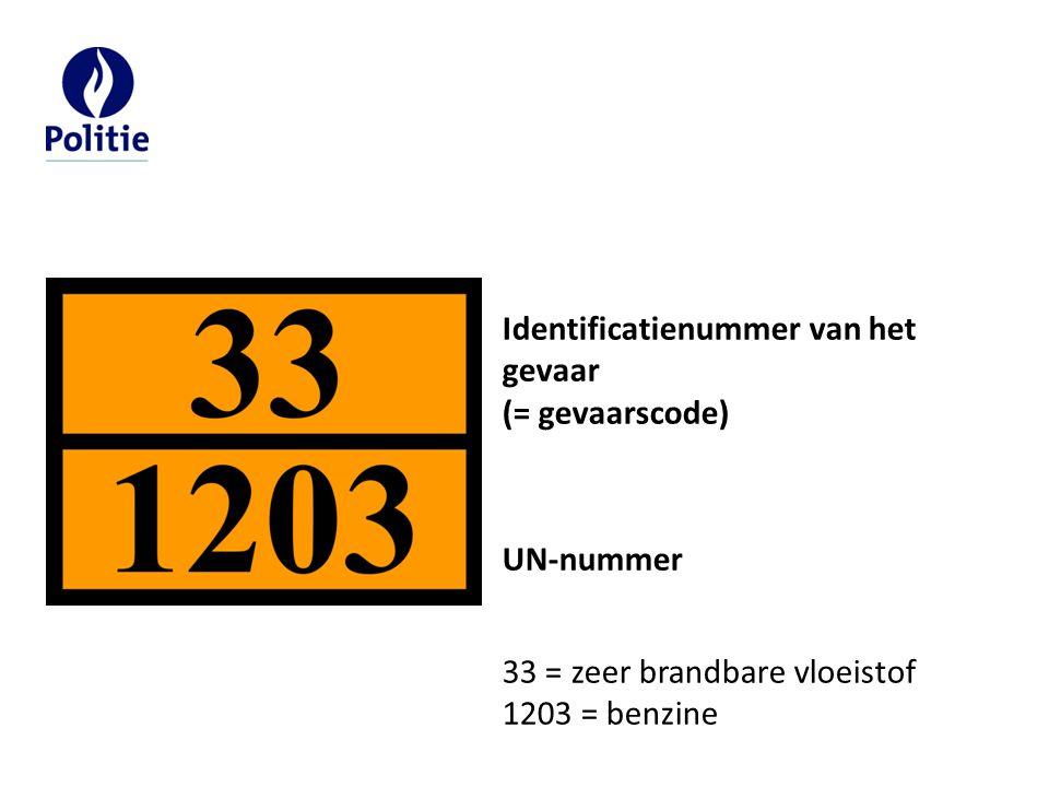 Identificatienummer van het gevaar (= gevaarscode) UN-nummer 33 = zeer brandbare vloeistof 1203 = benzine
