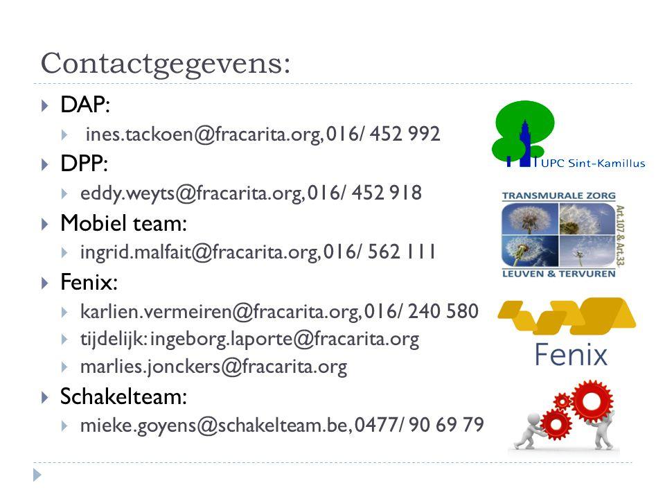 Contactgegevens: DAP: DPP: Mobiel team: Fenix: Schakelteam: