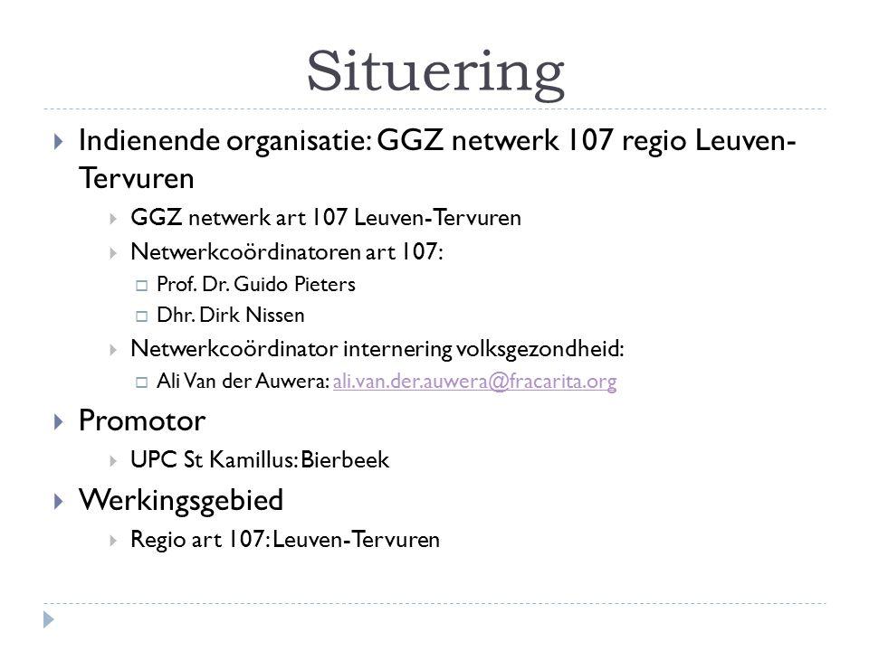 Situering Indienende organisatie: GGZ netwerk 107 regio Leuven- Tervuren. GGZ netwerk art 107 Leuven-Tervuren.