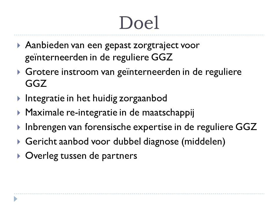 Doel Aanbieden van een gepast zorgtraject voor geïnterneerden in de reguliere GGZ. Grotere instroom van geïnterneerden in de reguliere GGZ.