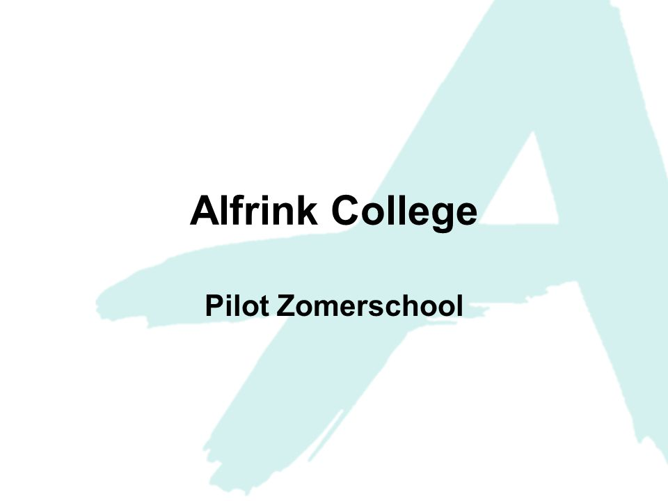 Alfrink College Pilot Zomerschool