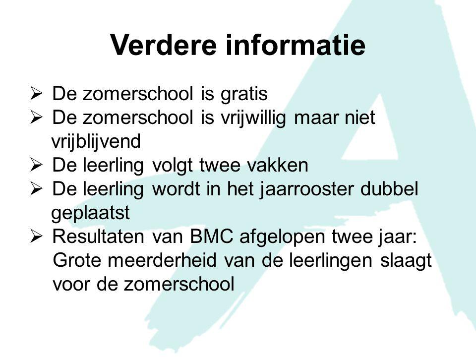 Verdere informatie De zomerschool is gratis