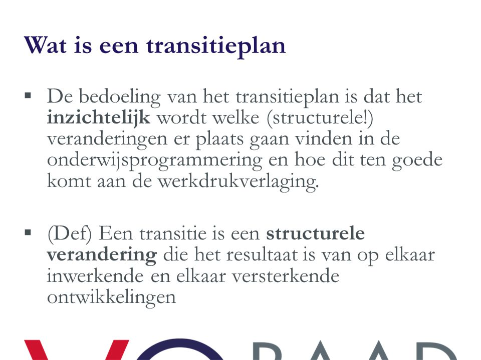 Wat is een transitieplan