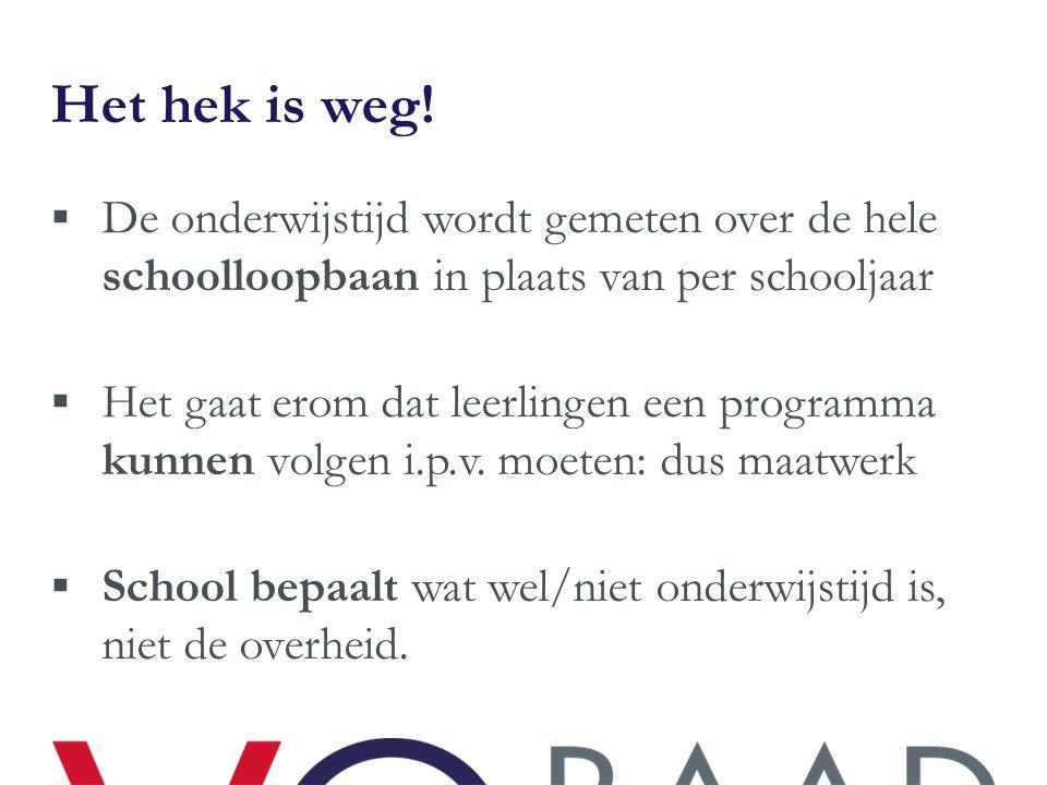 Het hek is weg! De onderwijstijd wordt gemeten over de hele schoolloopbaan in plaats van per schooljaar.