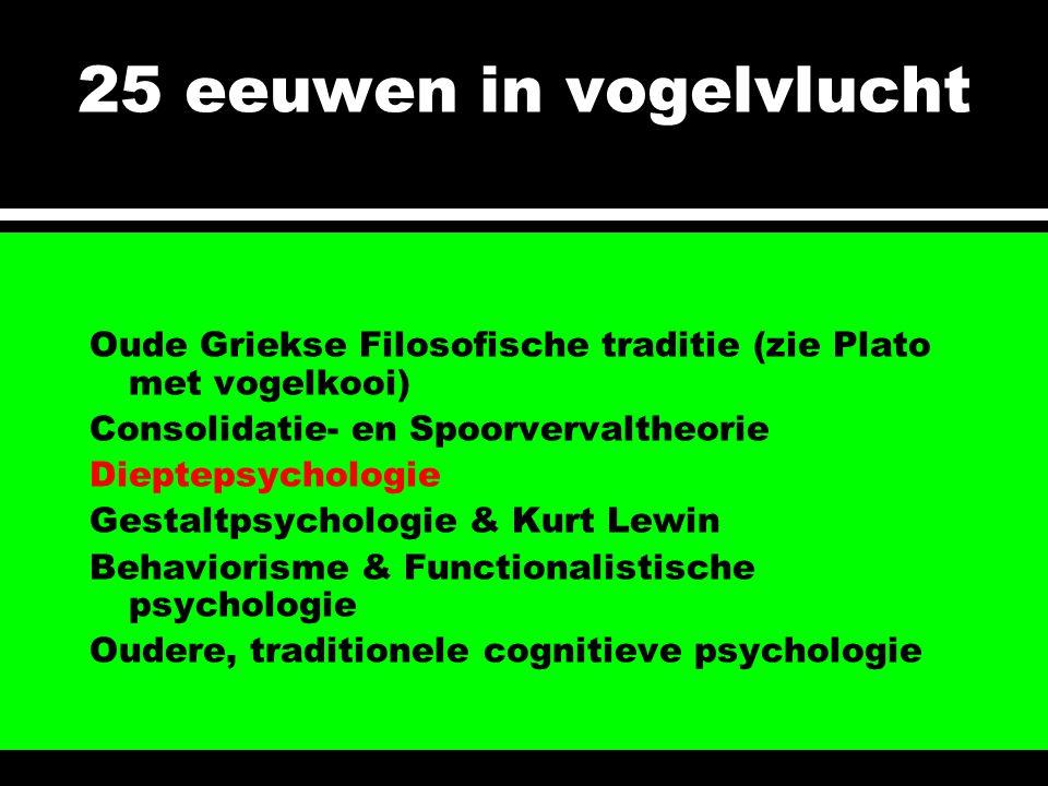 25 eeuwen in vogelvlucht Oude Griekse Filosofische traditie (zie Plato met vogelkooi) Consolidatie- en Spoorvervaltheorie.