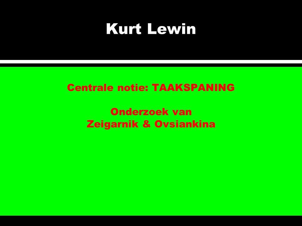 Kurt Lewin Centrale notie: TAAKSPANING Onderzoek van