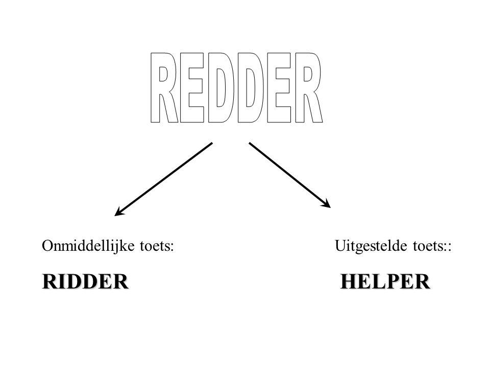 REDDER Onmiddellijke toets: Uitgestelde toets:: RIDDER HELPER.