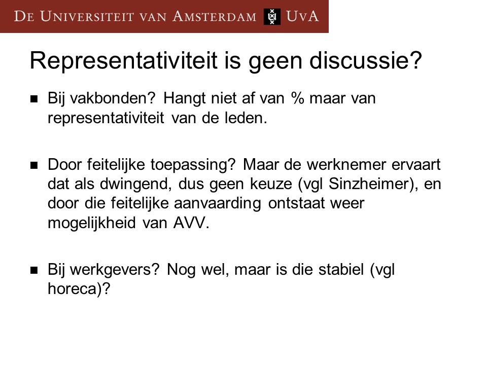 Representativiteit is geen discussie