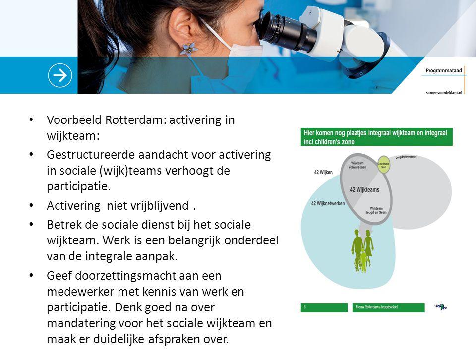 Voorbeeld Rotterdam: activering in wijkteam: