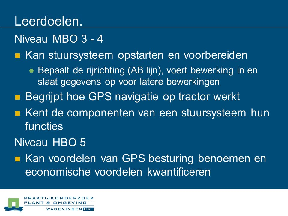 Leerdoelen. Niveau MBO 3 - 4