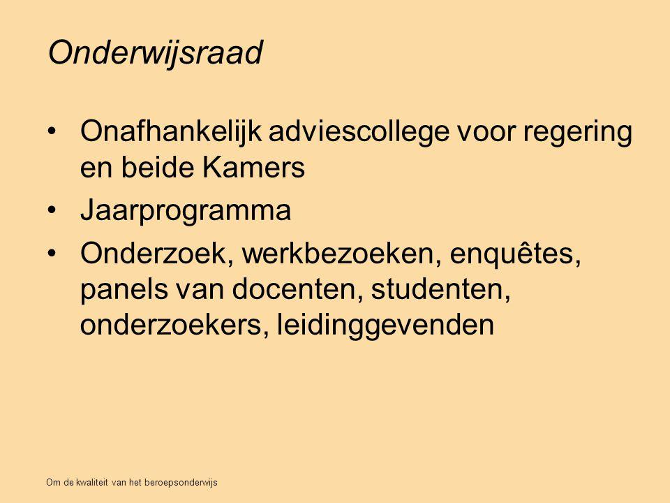 Onderwijsraad Onafhankelijk adviescollege voor regering en beide Kamers. Jaarprogramma.