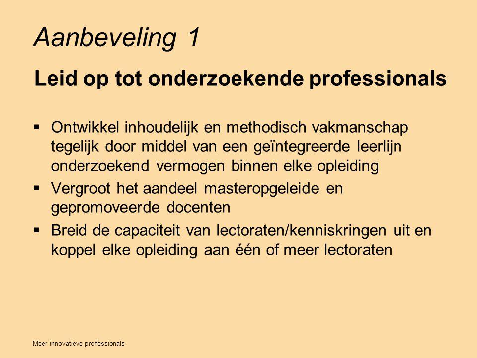 Aanbeveling 1 Leid op tot onderzoekende professionals