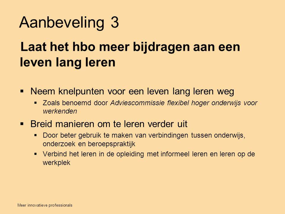 Aanbeveling 3 Laat het hbo meer bijdragen aan een leven lang leren