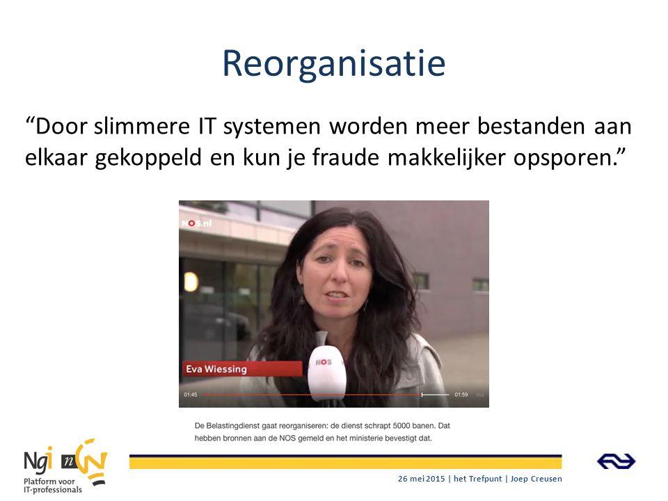 Reorganisatie Door slimmere IT systemen worden meer bestanden aan elkaar gekoppeld en kun je fraude makkelijker opsporen.