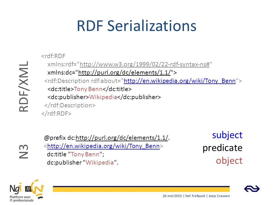 RDF Serializations RDF/XML N3 subject predicate object <rdf:RDF
