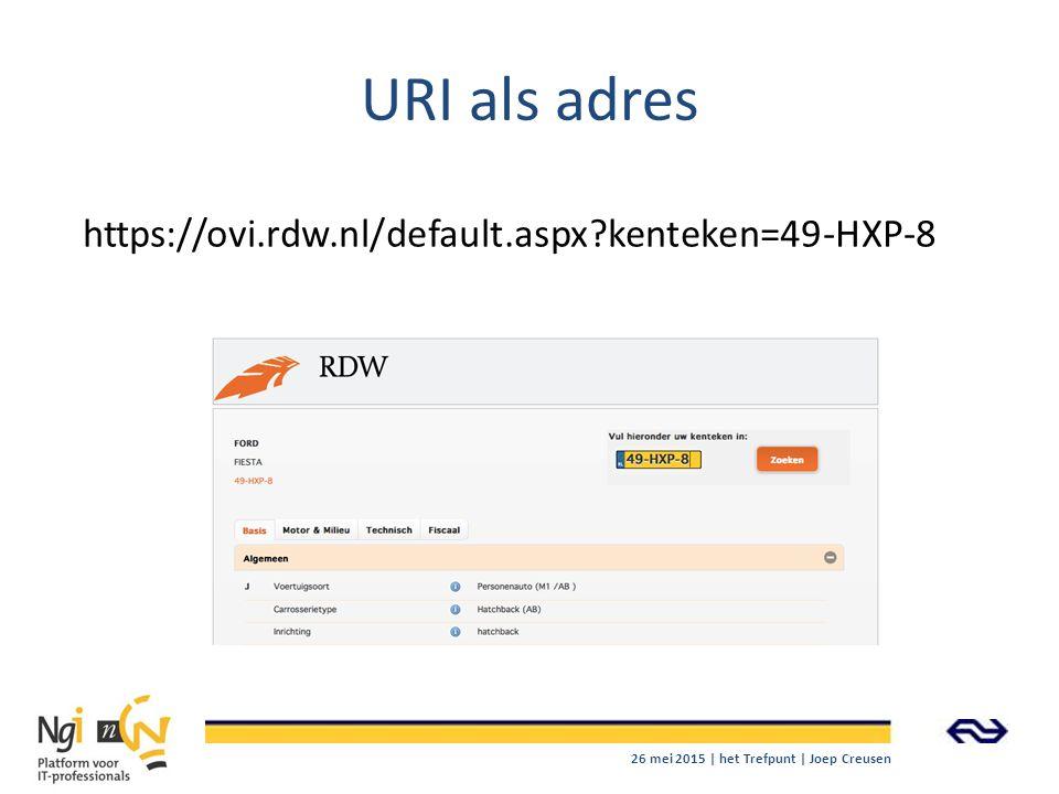 URI als adres https://ovi.rdw.nl/default.aspx kenteken=49-HXP-8