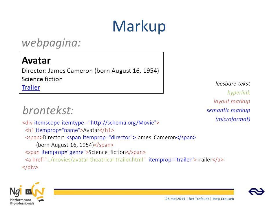 Markup webpagina: brontekst: Avatar