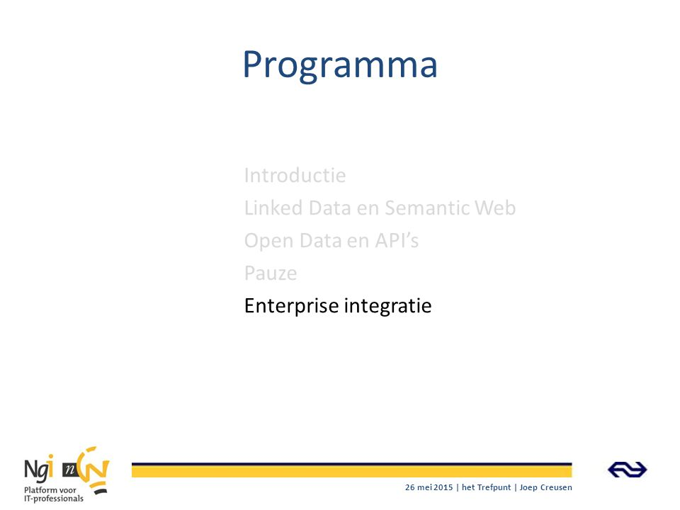 Programma Introductie Linked Data en Semantic Web Open Data en API's