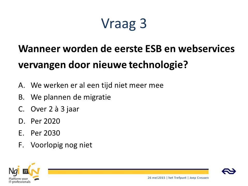 Vraag 3 Wanneer worden de eerste ESB en webservices vervangen door nieuwe technologie We werken er al een tijd niet meer mee.