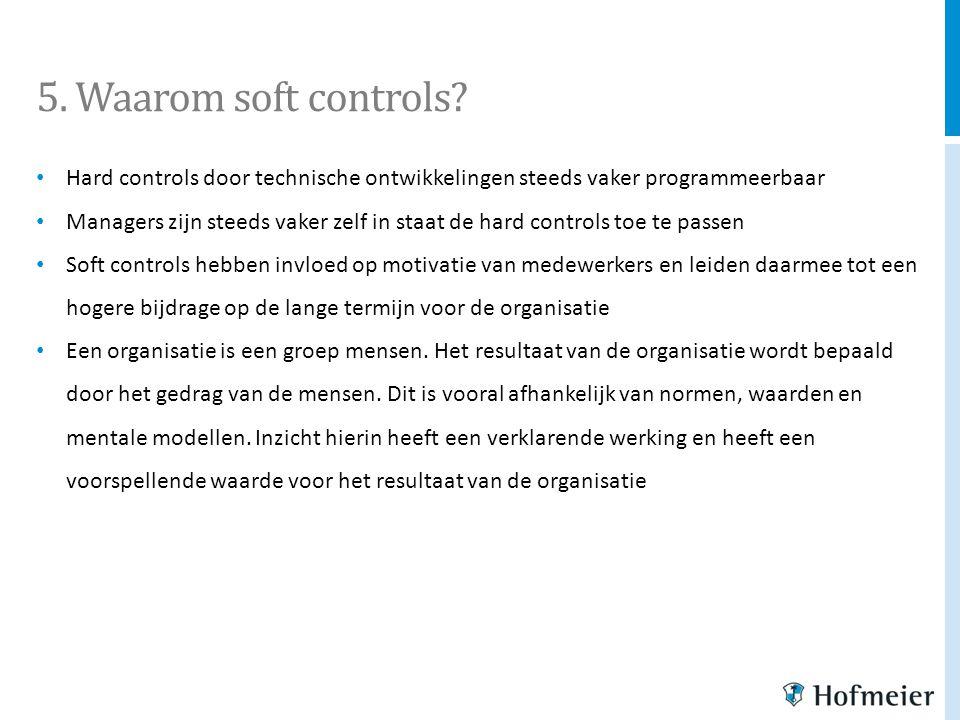 5. Waarom soft controls Hard controls door technische ontwikkelingen steeds vaker programmeerbaar.