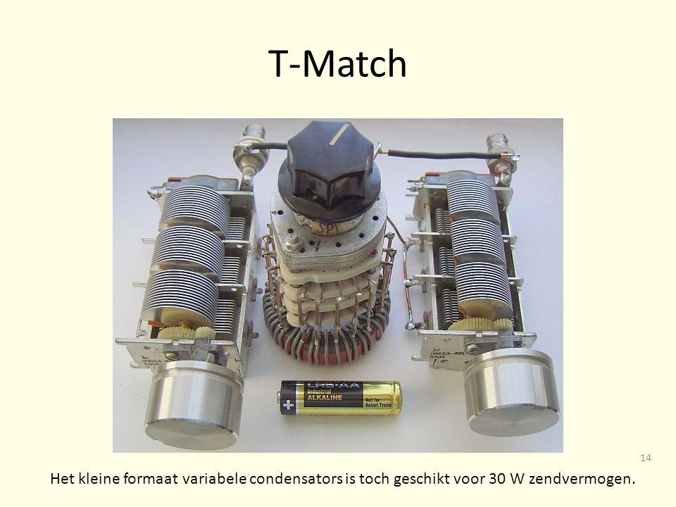 T-Match Het kleine formaat variabele condensators is toch geschikt voor 30 W zendvermogen.