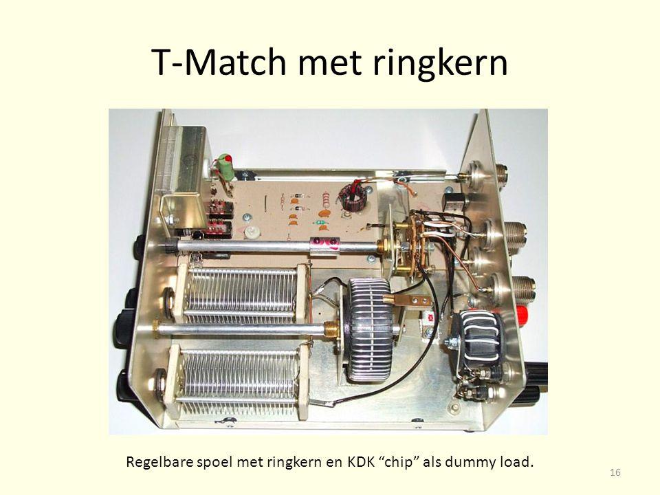 Regelbare spoel met ringkern en KDK chip als dummy load.