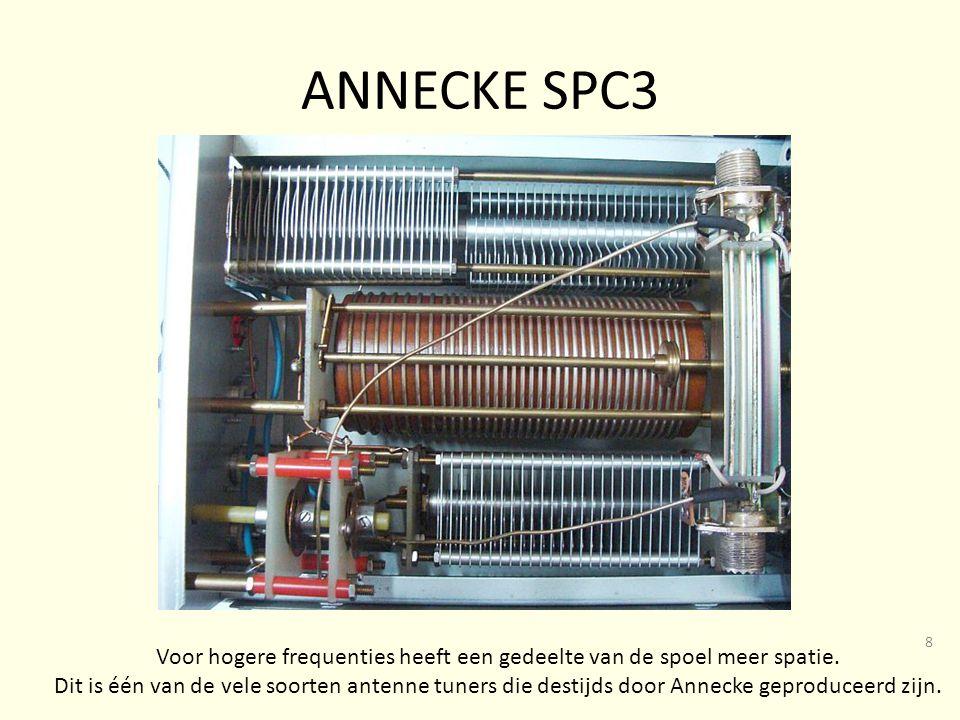 Voor hogere frequenties heeft een gedeelte van de spoel meer spatie.
