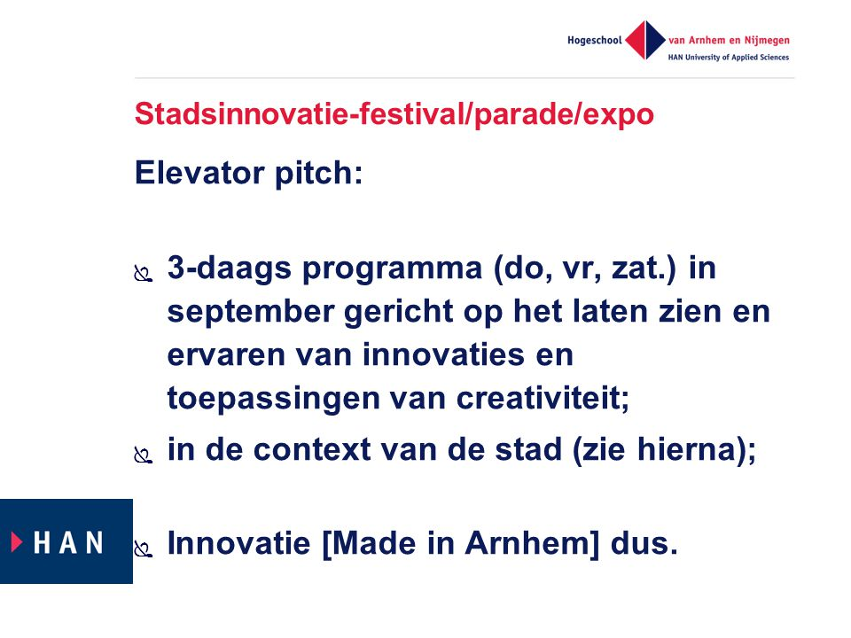 Stadsinnovatie-festival/parade/expo