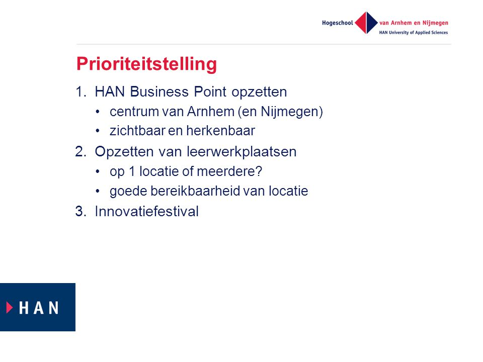 Prioriteitstelling HAN Business Point opzetten