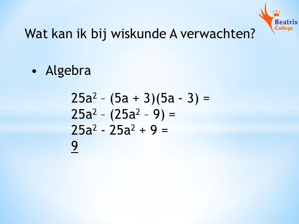Wat kan ik bij wiskunde A verwachten