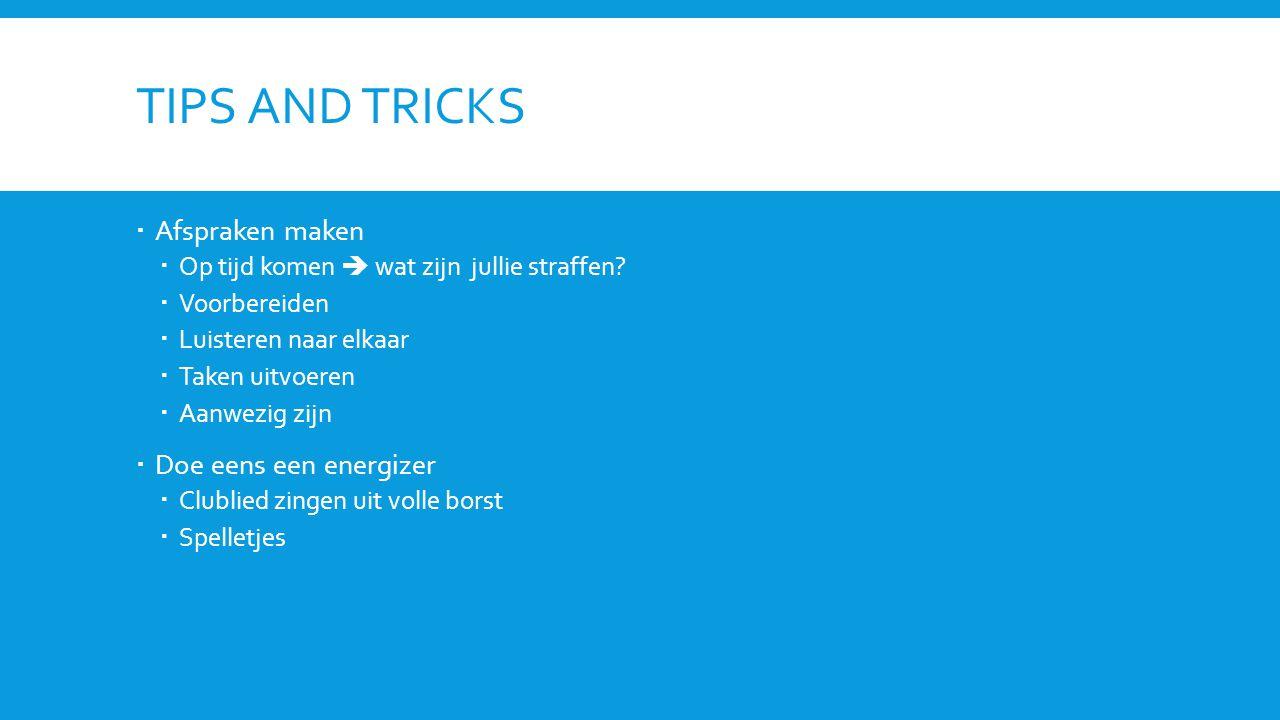 Tips and tricks Afspraken maken Doe eens een energizer