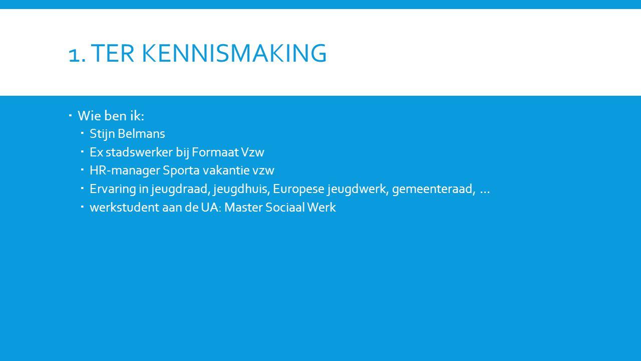 1. Ter Kennismaking Wie ben ik: Stijn Belmans