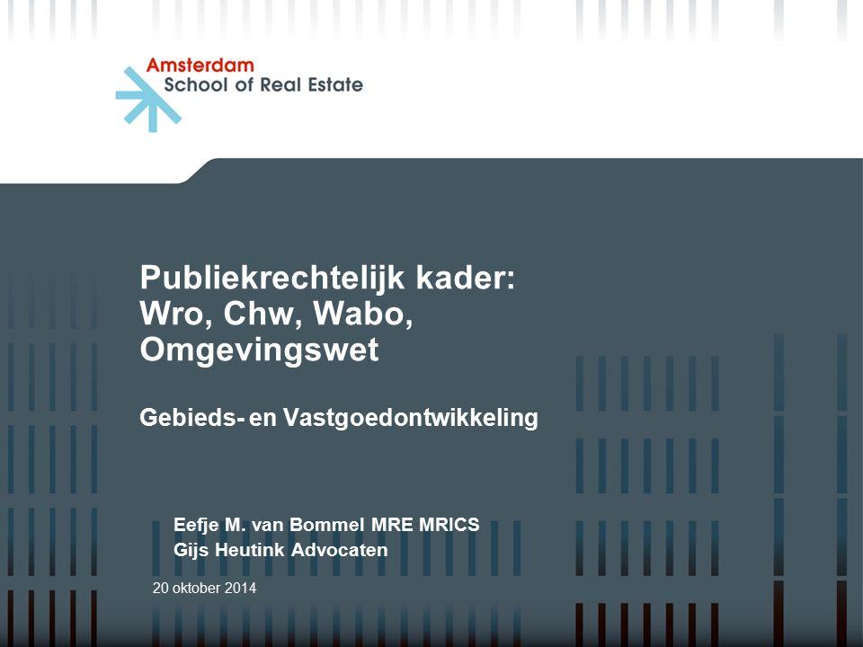 Publiekrechtelijk kader: Wro, Chw, Wabo, Omgevingswet