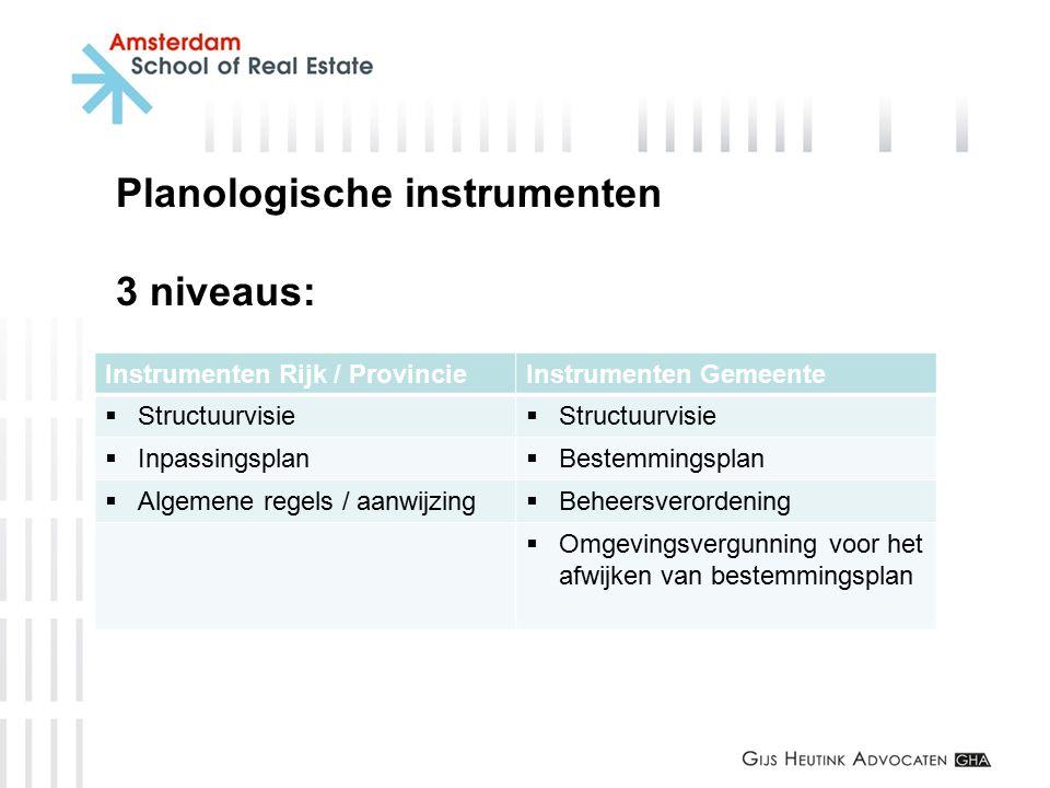 Planologische instrumenten 3 niveaus: