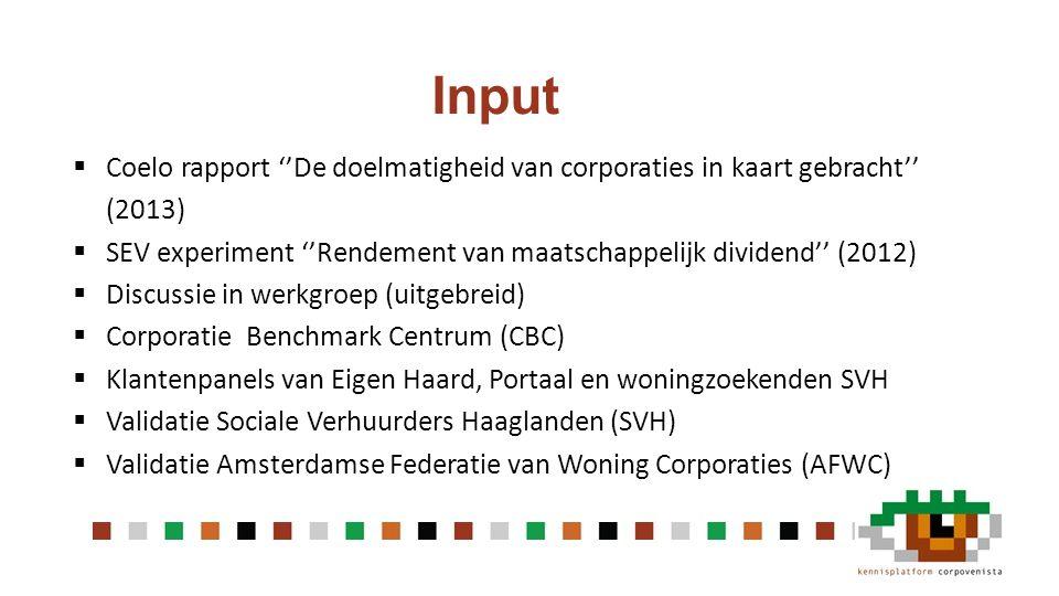 Input Coelo rapport ''De doelmatigheid van corporaties in kaart gebracht'' (2013) SEV experiment ''Rendement van maatschappelijk dividend'' (2012)