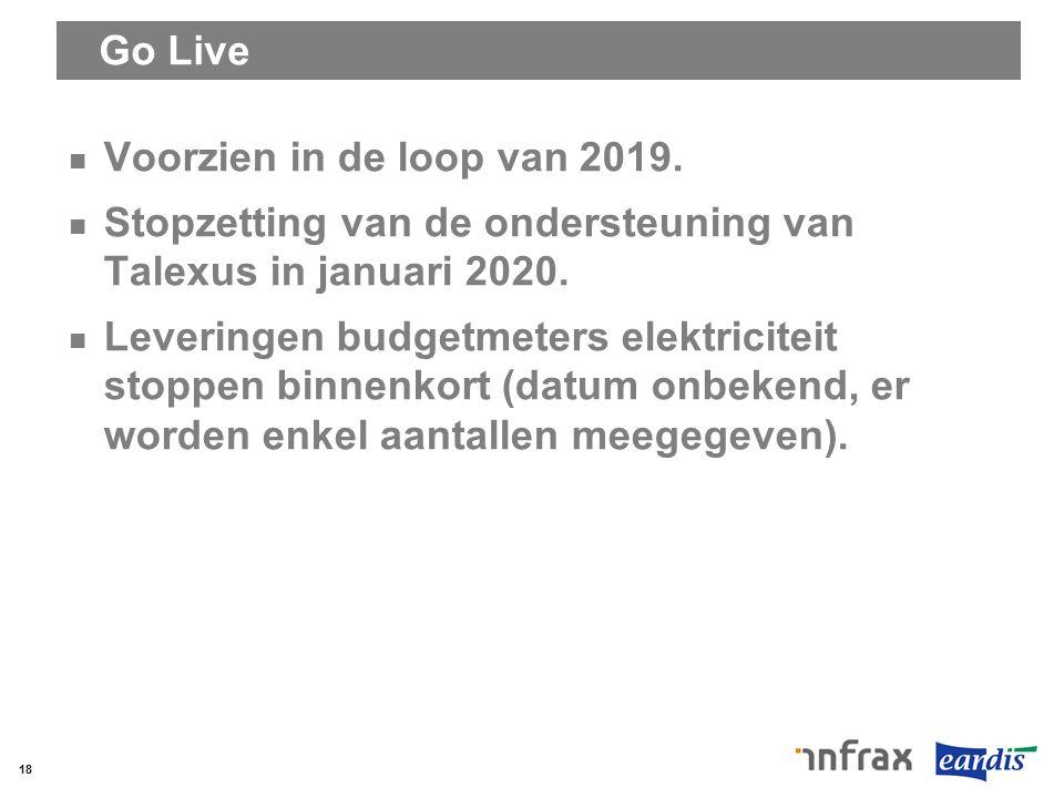 Go Live Voorzien in de loop van 2019. Stopzetting van de ondersteuning van Talexus in januari 2020.
