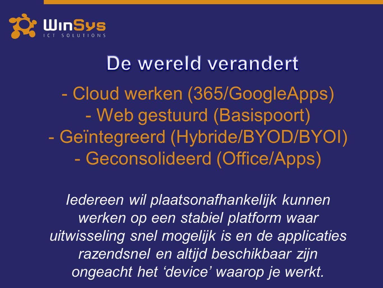 De wereld verandert Cloud werken (365/GoogleApps)