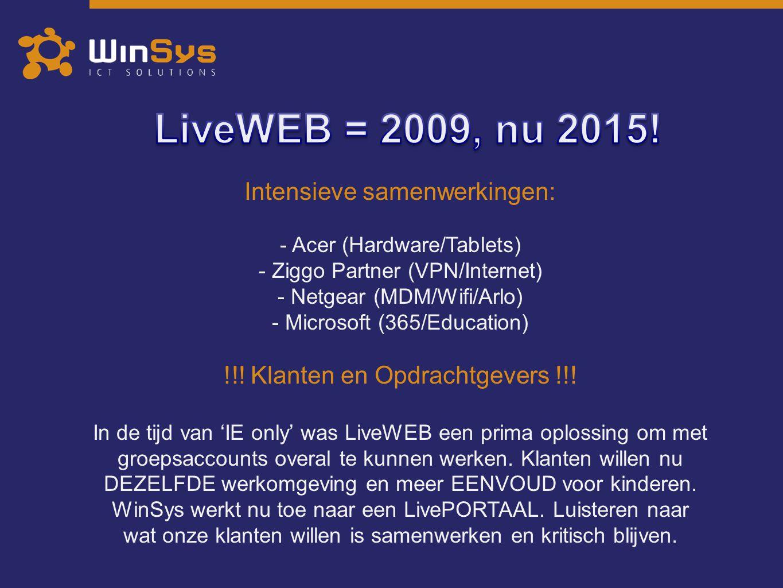 LiveWEB = 2009, nu 2015! Intensieve samenwerkingen: