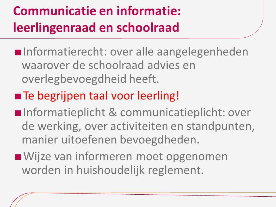 Communicatie en informatie: leerlingenraad en schoolraad