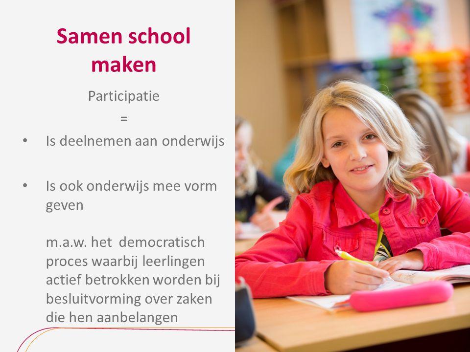 Samen school maken Participatie = Is deelnemen aan onderwijs