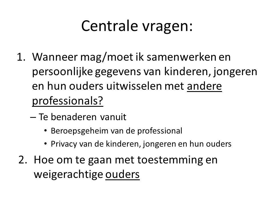 Centrale vragen: Wanneer mag/moet ik samenwerken en persoonlijke gegevens van kinderen, jongeren en hun ouders uitwisselen met andere professionals