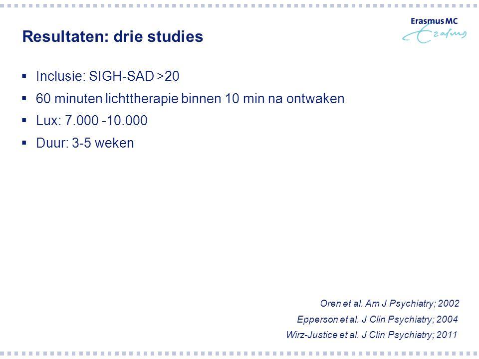 Resultaten: drie studies