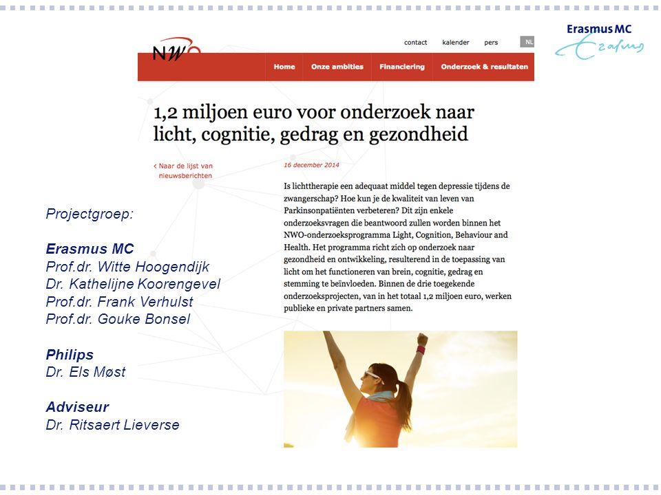 Projectgroep: Erasmus MC. Prof.dr. Witte Hoogendijk. Dr. Kathelijne Koorengevel. Prof.dr. Frank Verhulst.